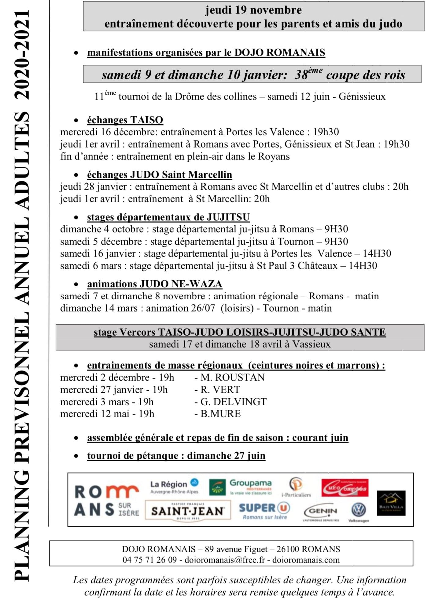 Calendrier Judo 2021 Planning loisirs 2020 / 2021 – Dojo Romanais