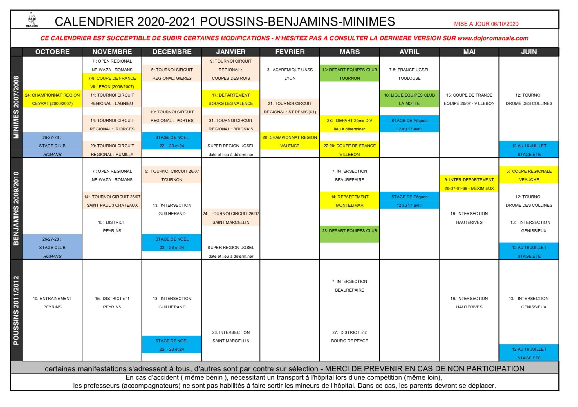 Calendrier poussins minimes benjamins 2020 21