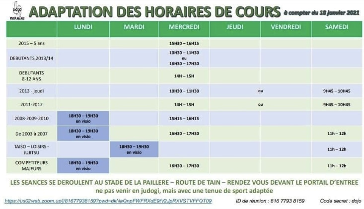 Horaires mars 2021